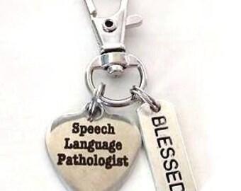 Speech Language Pathologist Speech Teacher Therapist Blessed Zipper Pull Keychain Gym Bag Tote Bag Backpack Beach Bag Bookbag Adornment