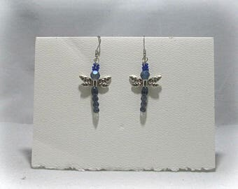 Dragonfly Dangle Earrings with tiny Swarovski accent