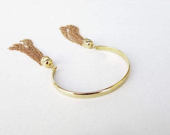 Cuff Bracelet, Tassel Bracelet, Tassel Chain Bracelet, Gold Filled Bracelet, Gold Cuff Bracelet, Cuff Bracelet, Tassel Bracelet
