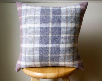 Rose Pink and Light Gray Plaid Pendleton Wool Lumbar Pillow Cover - 16x16