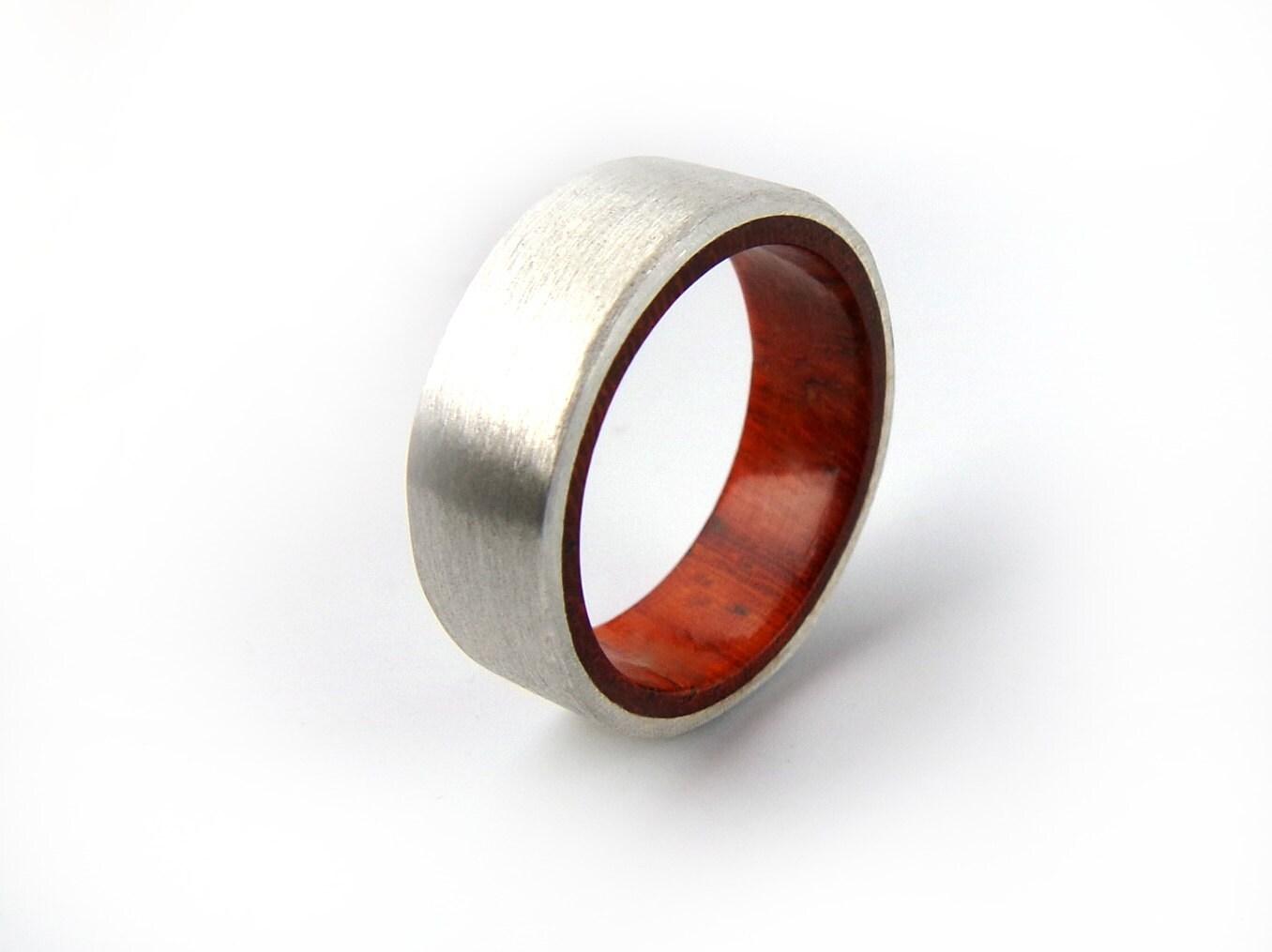 silver ring padauk ring silver wood ring
