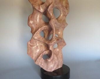 Alabaster Sculpture Indian Red Natural Stone Sculpture Original One-of-a-kind Handmade Art