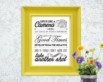 Life is Like a Camera - Printable