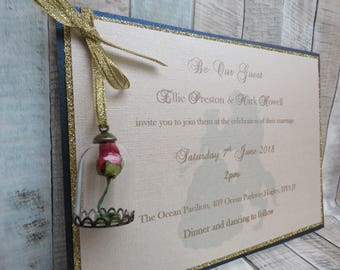 Beauty & the Beast themed Luxury Wedding Invitation with Glass Dome Embellishment