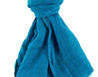 Blue 100% linen scarf, linen scarf, flax scarf, spring scarf, spring scarf, linen shawl, blue shawl, linen wrap, blue scarf, unisex scarf