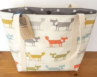 Lined fox canvas shoulder tote bag, Handmade animal fabric handbag, Gift for fox lover, Knitting bag, Beach tote bag, Girlfriend gift