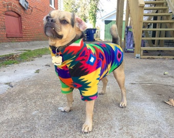 Custom Dog Sweater Pullover Fleece In Retro 90s Southwestern // Aztec Inspired Print - El Retro
