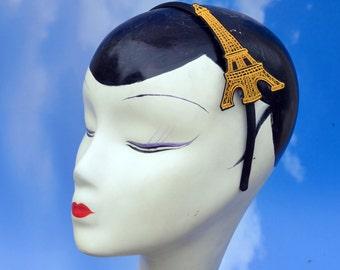 Gold Eiffel Tower Black Satin Headband or Clips - Childs, Girls, Womens Hai Accessory  Burlesque, Bastille, Kawaii