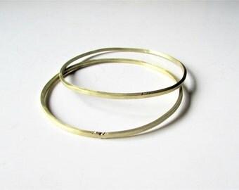 Brass Bangles Bracelets, Set of Two, Hammered Skinny Organic Bangle