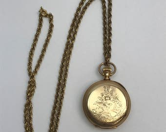 14k Gold Filled Illinois Watch Co. 7 Jewel Ladies Pocket Watch on a Gold Filled Chain