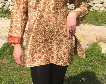 Silk Tunic,Hippie Tunic,Summer Dress,Vintage Tunic,Boho Tunic,Ethnic Tunic,Tunic Dress,Tunic Tops,Womens Tunic,Sari Tunic,Elven Clothing