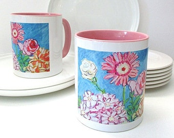 Flower Mug, Colourful Mug, Coffee Mug, Unique Mug, Pastel Colours, Floral Mug, Tea Mug, Colourful Art Mug, Housewarming Gift, Hostess Gift