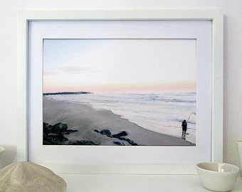Fisherman on Beach, Printable Beach Art, Australia, Digital Seascape Painting, Downloadable Art, Minimalist Art, Horizontal A4, Gift for Men