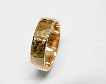 14k Rose Gold Wedding Band -Hammered Finish - Flat- Handmade - Men - Women - 2,3,4,5,6,7,8,9 or 10mm wide.Thickness 1.2mm.FREE SHIPPING.