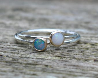 Yellow White Gold OPAL Ring For Women Hammered Solitare Stackable Stacking October Birthday Birthstone Gift Milky White Doublet Engagement