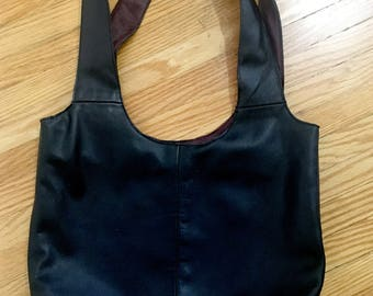 Minimal recycled leather shopping bag style tote with two tone leather