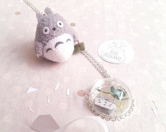 Origami Totoro, Globe Bottle Pendant, Necklace, Glass Bottle Pendant , Paper Totoro miniature Necklace