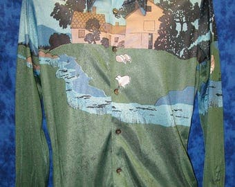 Vintage polyester 1970's disco shirt