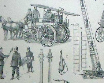 1900 FIREFIGHTERS. Antique Rare & Beautiful print... 115 years old nice print!