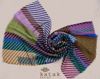 patterned silk wool scarf, multicolored striped silk wool scarf, geometric design scarf, women gift