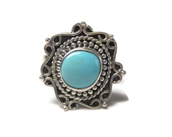 Vintage Balinese Sterling Turquoise Ring Size 6