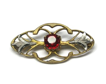 Vintage Red Rhinestone Two Tone Sterling Nouveau Brooch