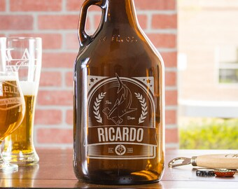 beer growler, birthday gifts for him, beer lover gift, craft beer, 21st birthday gifts, personalized growler, gift for dad