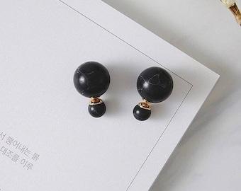 Marble Balls Earrings / Ear Jackets - Black
