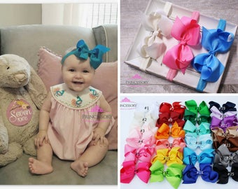 Baby Headband - Baby Girl headband - hair bows -  Baby Headband Set - Baby Bows - hair bows for babies - 4 inch bows - baby hair bows