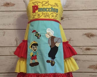 Disney Inspired Pinocchio Dress! Perfect for everyday, birthday party or a trip to Disney