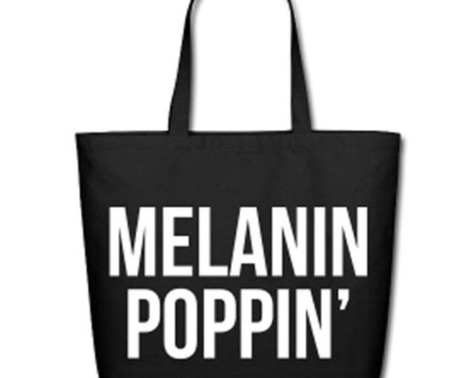 Melanin Poppin' Natural Cotton Canvas Tote - Black/White Lettering
