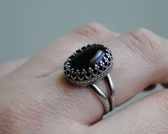 The Black Onyx Princess Ring, Sterling Silver, Made to Order