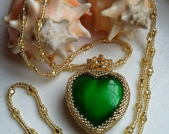 Gold Beaded Bright Green  Heart Pendant Necklace