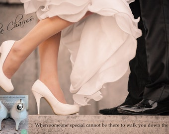 Bridal Charms - Wedding Shoe Charm - SET of 2 - Photo Shoe Charm - Bridal shoe Charm set, memorial shoe charms, photo wedding shoe charms