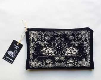 Swans Screen Printed Bag/Pouch Inspired by Carrickmacross Lace, A Stunning Gift for someone Very Special!