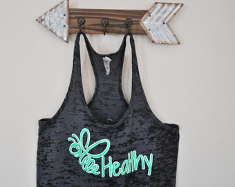 "Black and Green- Racer back Burn-Out Tank top (Next Level) with ""Bee Healthy"" logo"