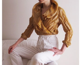 90s Textured Bronze Blouse Medium