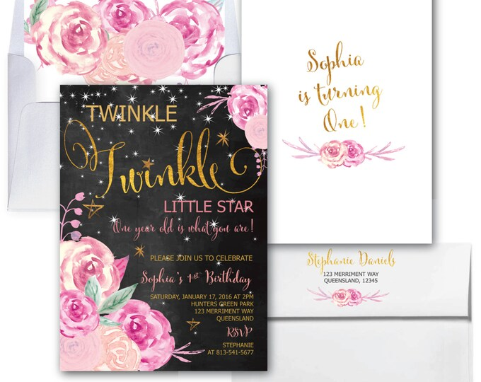 Twinkle Twinkle First Birthday Invitation // Little Star // One // Watercolor // Pink / Chalkboard / Gold // Floral // SAVANNAH COLLECTION