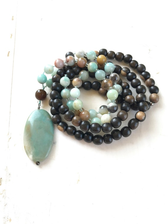Tiger Ebony Wood Mala Beads, Amazonite Mala Necklace, 108 Bead Mala For Meditation, Handmade Mala For Your Yoga Practice, Natural Healing