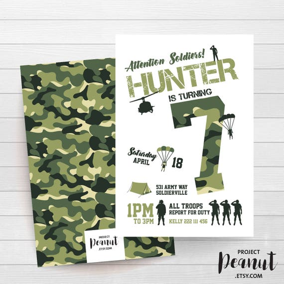 Camo Invitation Military Party Army Birthday Camouflage