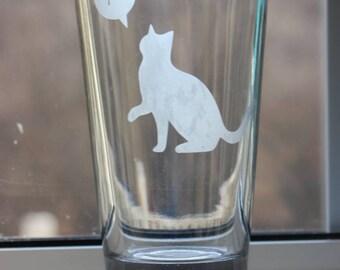 Mu Cat Pint Glass - A math geek's perfect pint glass - Geek Glass - Cat Math Glass - Cat Geek Glass -Cat Math Pint Glass-Cat Geek Pint Glass