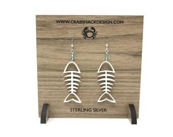 Fish Bone Earrings   Acrylic   Sterling Silver   Swarovski Crystal   Gift Under 30   Bridesmaid Earrings   Handmade  Beach Jewelry