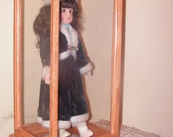 Doll Display Case made of oak hardwood