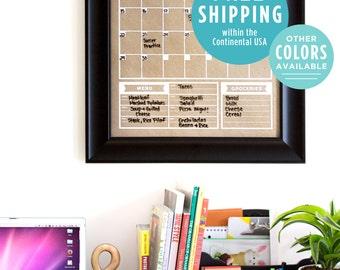 Calendar - Family Planner - Wall Calendar- Blank Calendar Print - Vertical Calendar - Office Calendar - Kraft Calendar - Gray Calendar