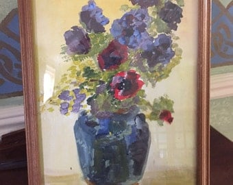 Framed Watercolour Painting Of Anemones In A Vase Beautiful Picture
