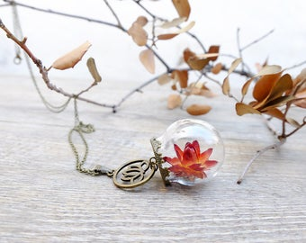 Lotus necklace, lotus flower, gift for woman, flower jewelry, spiritual neckalce, original necklace, nature necklace, glass necklace