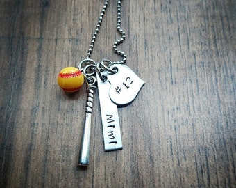 Hand Stamped Personalized Softball Necklace -  Softball Mom  - Girls Softball Gift  - Softball Gifts