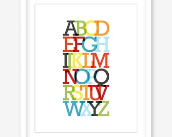 Nursery print - printable nursery alphabet print - printable poster - mid century nursery art - printable alphabet art - DIGITAL DOWNLOAD
