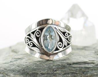 Aquamarine silver ring. Size 6. Natural stone. Gemstone ring. Engagement ring faceted blue Aquamarine. apsarasV. Carved work Aquamarine ring