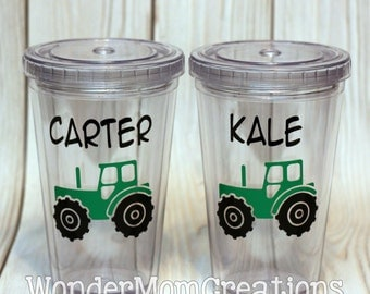Tractor Personalized Tumbler; Tractor Personalized Cup, Tractor Themed Birthday Favor Cup; Tractor Birthday Cup; Tractor Birthday Tumbler
